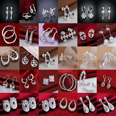 Hot Wholesale Solid Silver Lady/Womens's 925Silver Earrings Dangle/Stud+gift box
