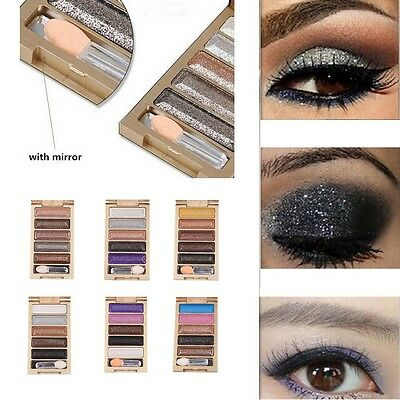 5 Colors Shimmer Eyeshadow Eye Shadow Palette & Makeup Cosmetic Brush Set