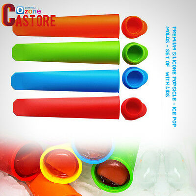 Set of 6 with Lids- Ice Pop Molds - Premium Silicone Popsicle