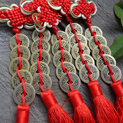 Chinese Knot Tassel Hanger Feng Shui 5 Coins Pendant Key Ring String Car Hanging