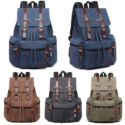Mens Tourist Camping Canvas Real Leather Trims Sport Bag School Backpack