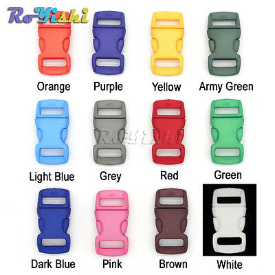 """3/8""""(10mm) Colorful Contoured Side Release Buckles For Paracord Bracelet"""