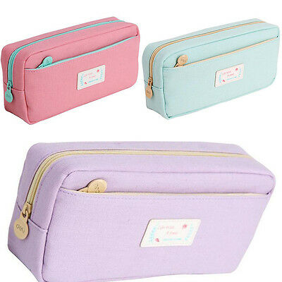Zipper Pencil Pen Case Large Stationary Cosmetic Brush Bag Storage Pouch Hot