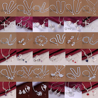 Lady Jewellery 925Solid Silver Sets Bracelet Necklace Ring Earrings + Gift box