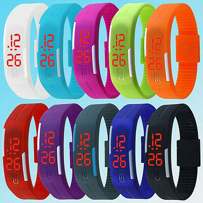 LED Sport Bracelet Touch Digital Wrist Watch Mens Womens Striking Silicone