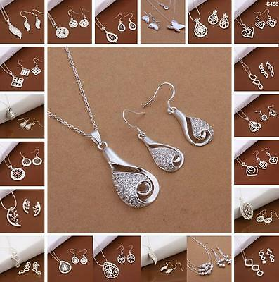2015 New wholesale fashion jewelry solid 925silver Necklace&Earring + GIFT BOX