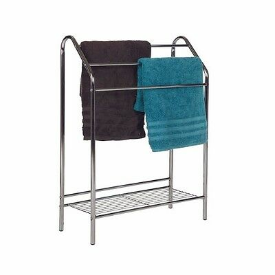 Howards Chrome 3 Rail Towel Rack Stand with Wire Shelf