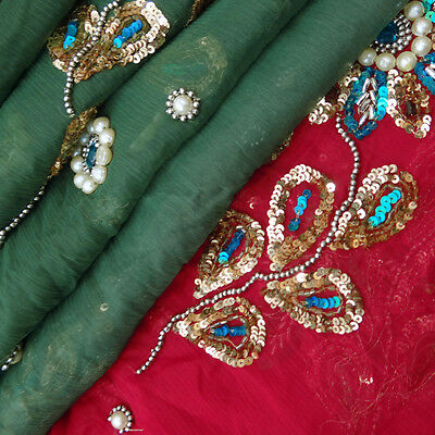 Vintage Dupatta Long Indian Scarf Hand Beaded Fabric Used Green Veil Stole Hijab