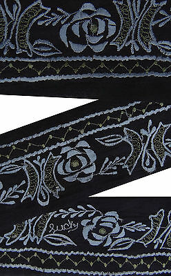 Vintage Indian Sari Border Used Embroidered Trim Sewing Black 1YD Ribbon Lace