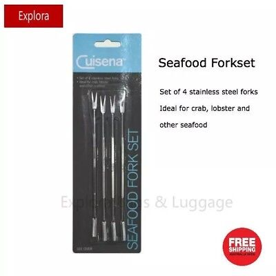 SET OF 4 Stainless Steel Seafood Crab Lobster Fork / Pick Set -Cuisena