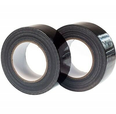 "Black Strong Duck Duct Gaffer Gaffa Waterproof Cloth Tape Rolls 2"" 50Mm X 50M"