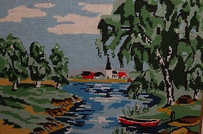 "Completed Needlepoint Waterfront Landscape Beautiful 20"" x 16"""