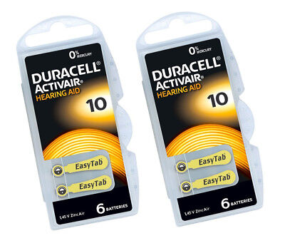 6 / 12 x Duracell 10 Hearing Aid Batteries Zinc Air 1.45v PR70 Yellow Tab 0% Hg
