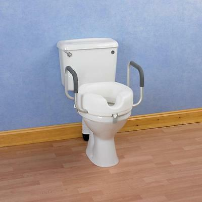 "Raised Toilet Seat With Arms Easy Fit Toileting Aid 4"" Height - VAT Exempt"