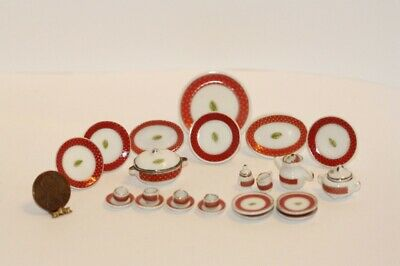 Dollhouse Miniature Porcelain Red Band Dinner Set
