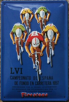 VINTAGE CYCLE RACING 1957  CYCLING POSTER Metal Sign - New Firestone