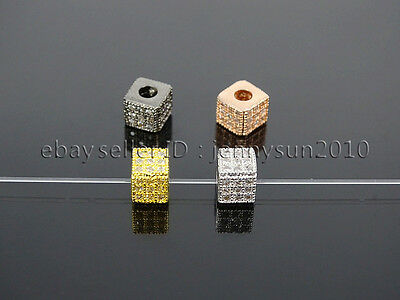 Clear Zircon Gemstones Pave Square Cube 5x5mm Bracelet Connector Charm Beads