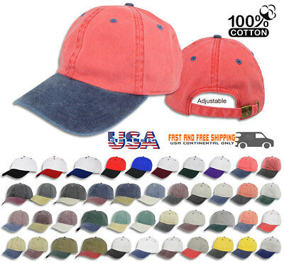 03060ac052e Dad Hat Pigment Dyed Two Tone Plain Cotton Polo Style Curved Baseball Cap  1200