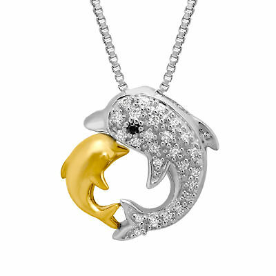 1/10 ct Diamond Dolphin Pendant in Sterling Silver and 14K Gold