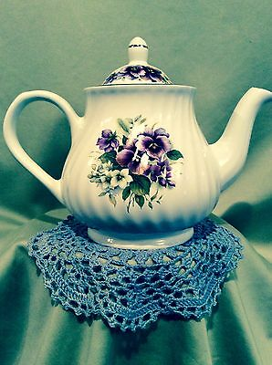 Arthur Wood And Son Floral Teapot, Staffordshire, England Stamped 6496 Est. 1884