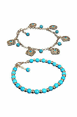 Boho Rhinestone Flower Beads Turquoise Foot Chain Anklet DT