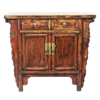"""Antique Chinese 2 Door Elm Cabinet Vanity w carved Spandrels 39"""" W x 34-1/2 Tall"""