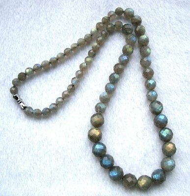 """Natural Labradorite Faceted Round Beads Necklace 6mm~10mm 18"""""""