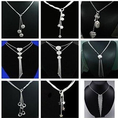 NEW Wholesale Fashion Jewelry 925 SILVER Chain Necklace Pendant XMAS Gift +Box