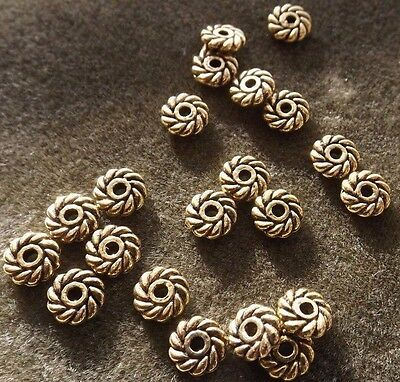 Round Designed Pin Wheel Spacer Beads 4 Mm Gold 50 Pieces