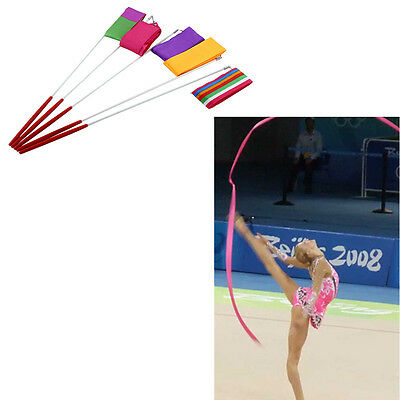 4M Gym Dancing Ribbon Rhythmic Art Dance Training Colors Streamer Rod W/Stick