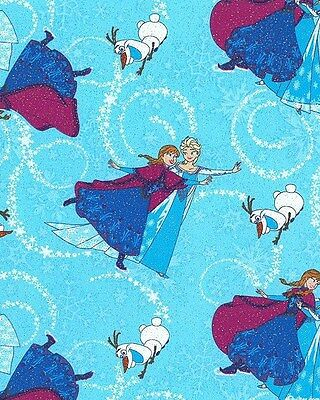 Disney Frozen Anna Elsa Olaf Glitter Accent Cotton Fabric CP53322 By The Yard