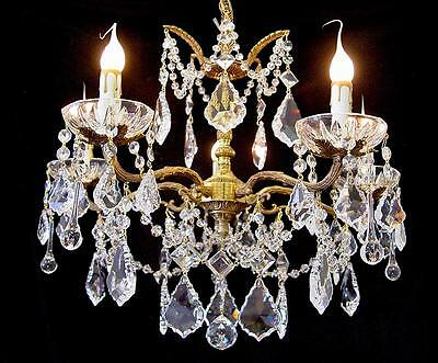 "Gorgeous! 5 Light Vintage Spain  21"" x 18"" Sparkling Crystal Brass Chandelier"
