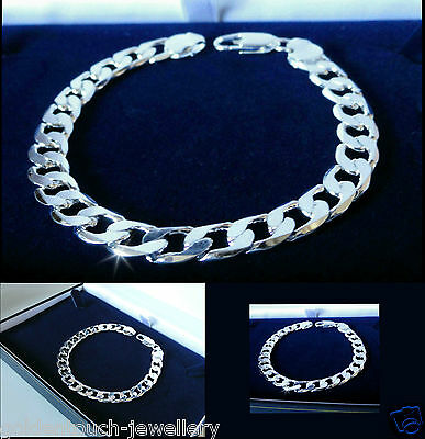 Mens, unisex 925 Sterling Silver Filled Plated 8mm Curb chain bracelet, UK