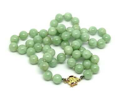 Rare Vintage CHINESE JADE 9mm BEAD 14k Gold Clasp Green Jadeite Necklace