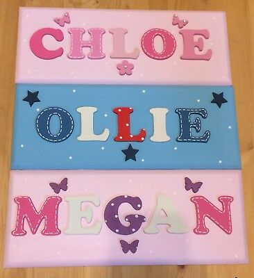 Personalised wooden name plaque child's door wall sign letters gift present