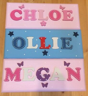 Personalised wooden name plaques childs door wall signs letters gift present