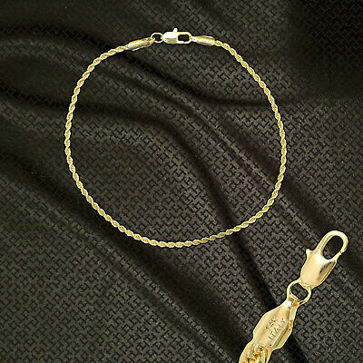 """14K ITALY GOLD PLATED 2mm ROPE CHAIN 8.5"""" QUALITY BRACELET GUARANTEED R2B"""