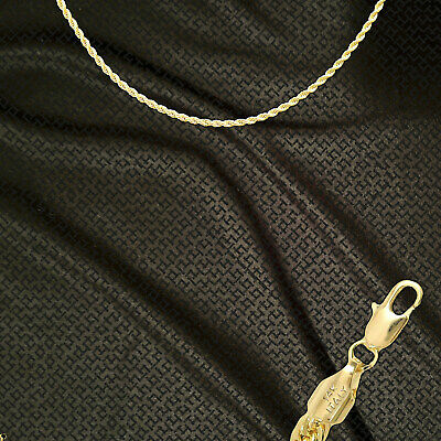 """14K ITALY GOLD PLATED 2mm ROPE CHAIN 16"""" QUALITY GUARANTEED SAME DAY SHIP R2D"""