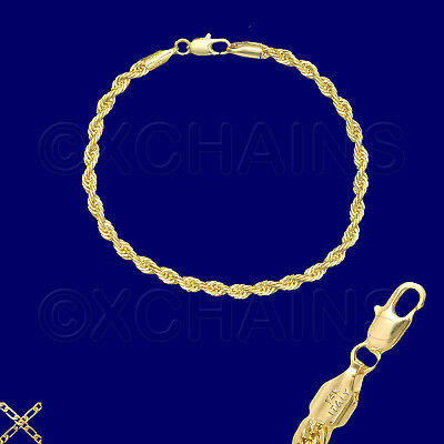 """14K ITALY GOLD PLATED 4mm ROPE CHAIN 8.5"""" QUALITY BRACELET GUARANTEED R4B"""