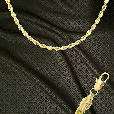 """14K ITALY GOLD PLATED 4mm ROPE CHAIN 20"""" QUALITY GUARANTEED SAME DAY SHIP R4F"""