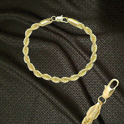 """14K ITALY GOLD PLATED 6mm ROPE CHAIN 7.5"""" QUALITY BRACELET GUARANTEED R6A"""
