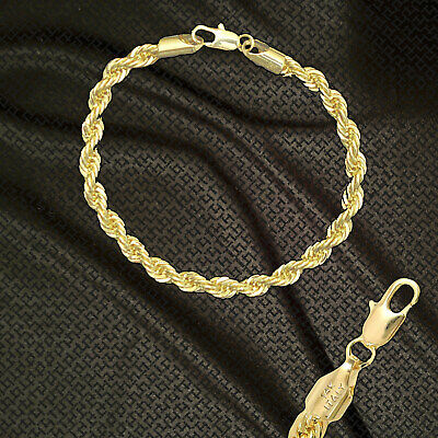 """14K ITALY GOLD PLATED 6mm ROPE CHAIN 8.5"""" QUALITY BRACELET GUARANTEED R6B"""