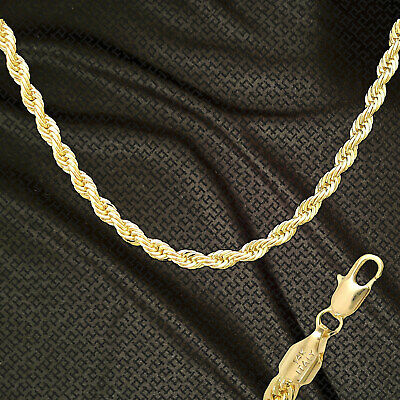 """14K ITALY GOLD PLATED 6mm ROPE CHAIN 24"""" QUALITY GUARANTEED SAME DAY SHIP R6H"""