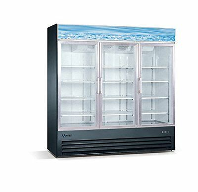 Vortex Refrigeration 3 Glass Door Merchandiser Freezer - Black