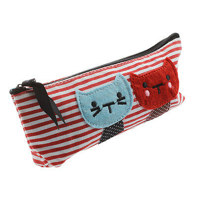 Cat Pocket School Cosmetic Make Up Pencil Pen Organizer Pouch DT