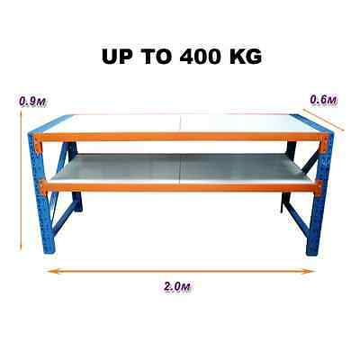 2M x 0.6M New Work Bench Warehouse Garage Metal Steel Storage Shelving Racking