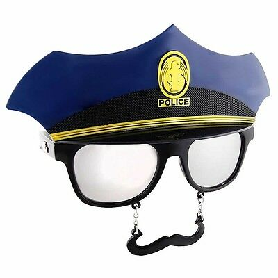 Police Officer Sunglasses with Mustache, Blue, Sun-Staches
