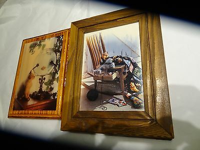 Vintage Cat looking at Fish in Fish bowl & Cat in rocker  set of two pictures