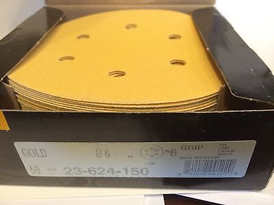 Mirka Abrasives 23-624-150 Mirka 23 Series Gold 6in Grip Disc with 6 holes ~ NEW