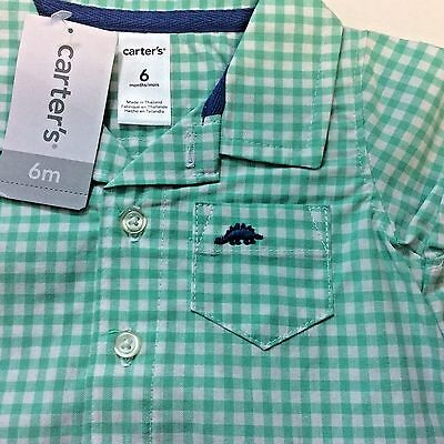 Carters Baby Boys 1 Piece Size 6 Months Dinosaur Green Checked NEW